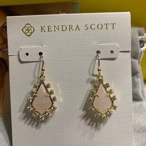 New Kendra Scott Gold Juniper Earrings RoseQuartz